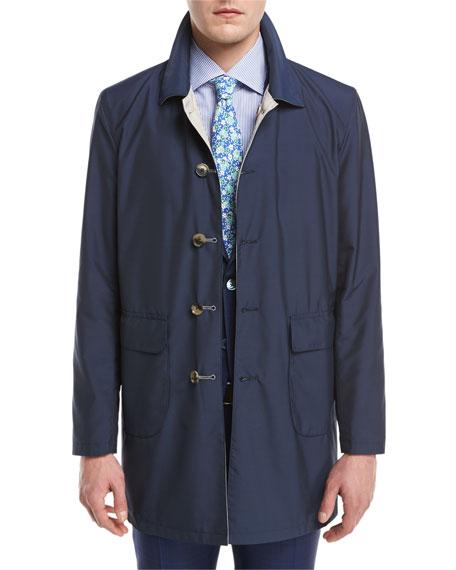 Isaia Reversible Single-Breasted Raincoat, Navy/Beige