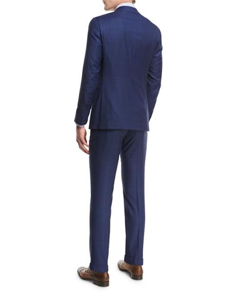 Plaid Aquaspider Super 160s Wool Two-Piece Suit, Blue