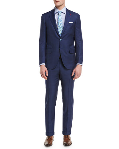 Plaid Aquaspider Super 160s Wool Two-Piece Suit, Blue