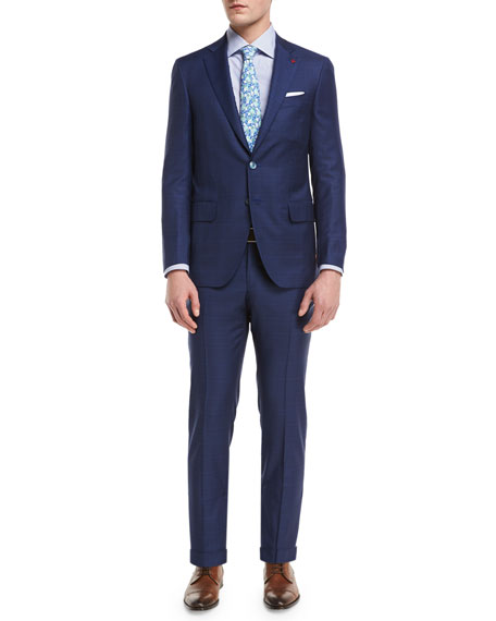 Isaia Plaid Aquaspider Super 160s Wool Two-Piece Suit,