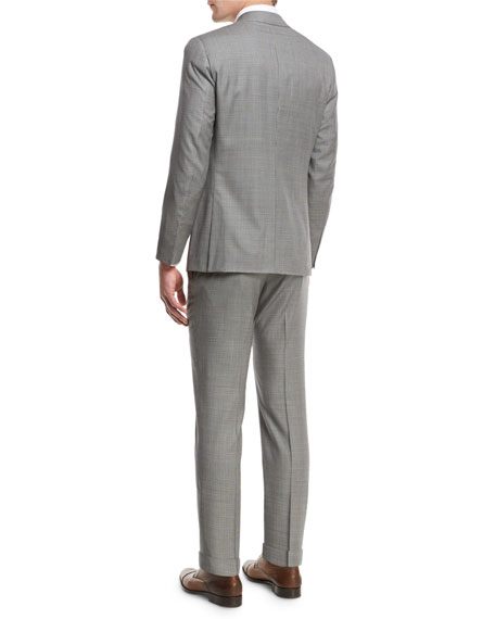 Check Aquaspider Super 160s Wool Two-Piece Suit, Gray