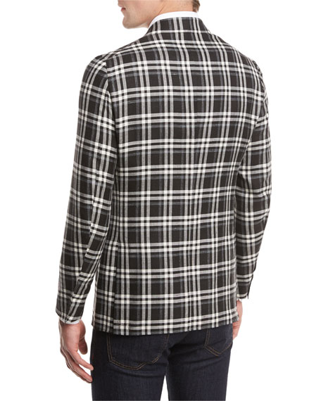 Domenico Plaid Two-Button Sport Coat, Black/White