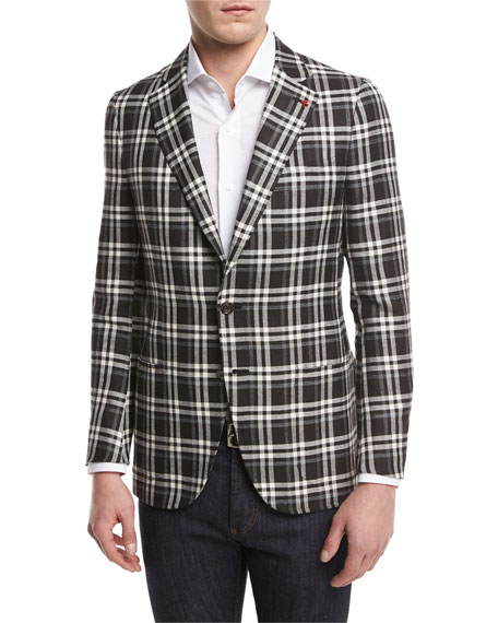 Isaia Domenico Plaid Two-Button Sport Coat, Black/White