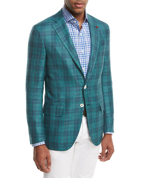 Isaia Sanita Glen Plaid Two-Button Sport Coat, Green/Navy