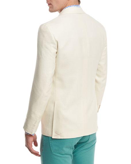 Textured Peak-Lapel Two-Button Blazer, Creme