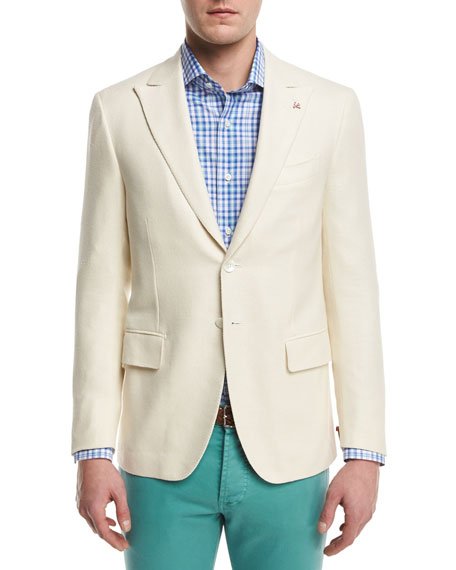 Isaia Textured Peak-Lapel Two-Button Blazer, Cr??me