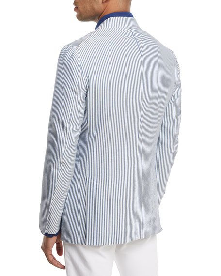 Domenico Striped Seersucker Two-Button Sport Coat, White/Blue