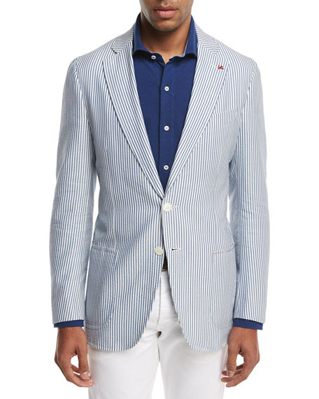 Isaia Domenico Striped Seersucker Two-Button Sport Coat,