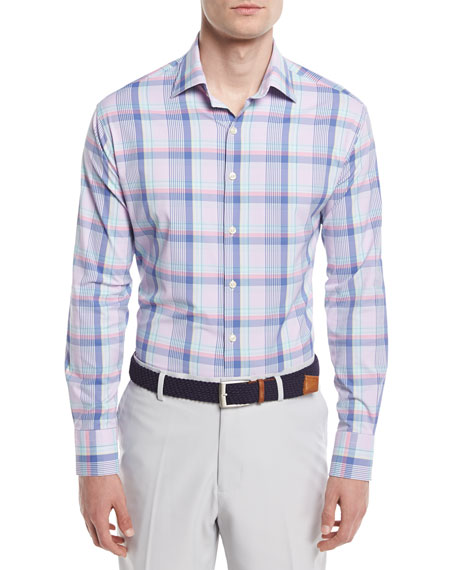 Peter Millar Crown Sport Ides Plaid Performance Shirt,