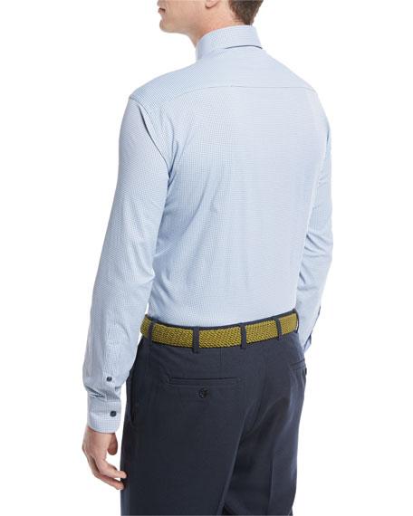 Crown Sport Gus Mini-Houndstooth Performance Sport Shirt, Blue