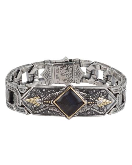 Men's Sterling Silver & 18K Gold Bracelet with Hawk's Eye