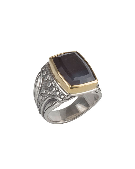 Men's Sterling Silver & 18K Gold Square Ring with Hawk's Eye