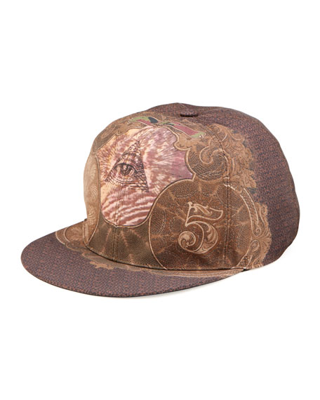 Eye & Logo Print Hat, Multi