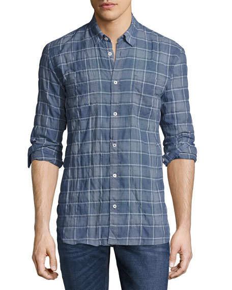 Billy Reid Randall Plaid Sport Shirt, Blue