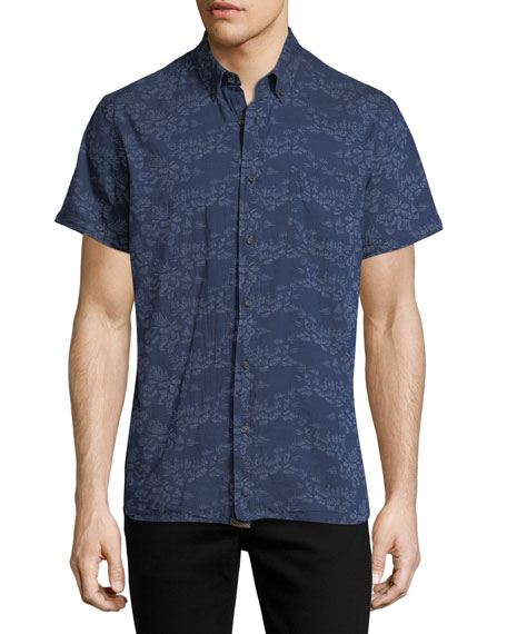 Billy Reid Tuscumbia Short-Sleeve Floral Cotton Shirt