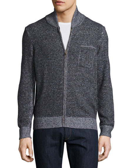 Donegal-Knit Track Jacket, Navy