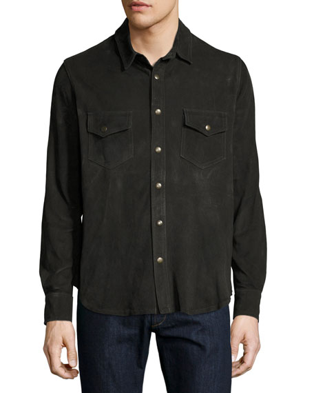 Billy Reid Suede Work Shirt, Charcoal