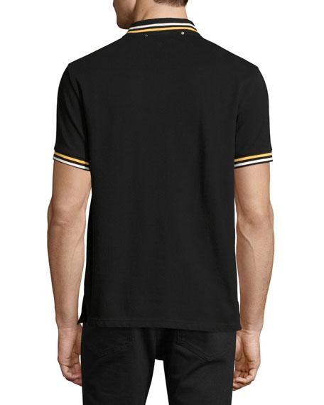 Varsity-Stripe Piqué Polo Shirt with Patches, Black