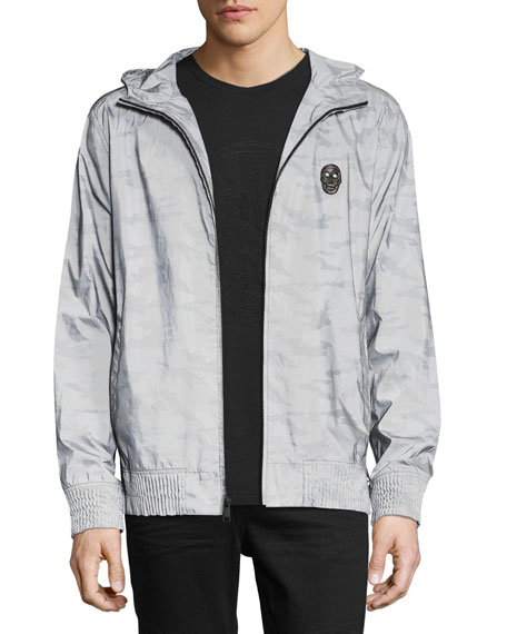 Reflective Camo Hooded Jacket, Silver