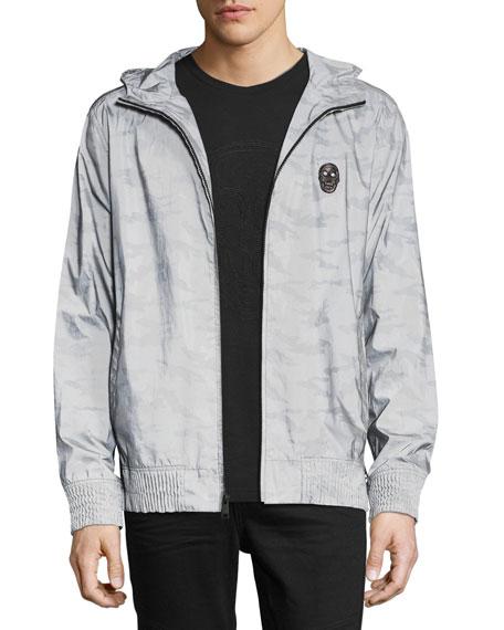 Reflective Camo Hooded Jacket, Silver