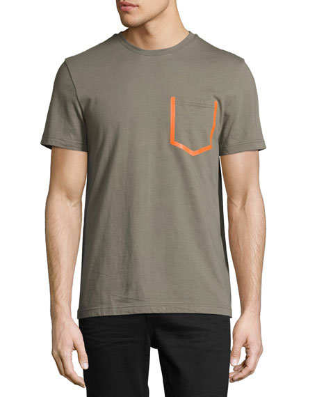 Daniel Won Patch-Pocket Crewneck T-Shirt, Olive