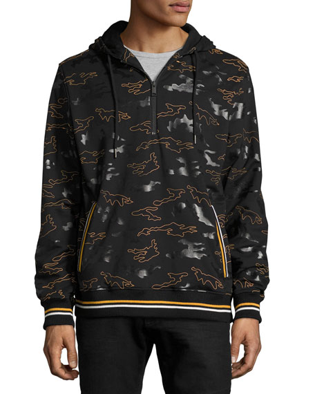 Daniel Won Rubber Camo Micro-Terry 1/4-Zip Hoodie, Black