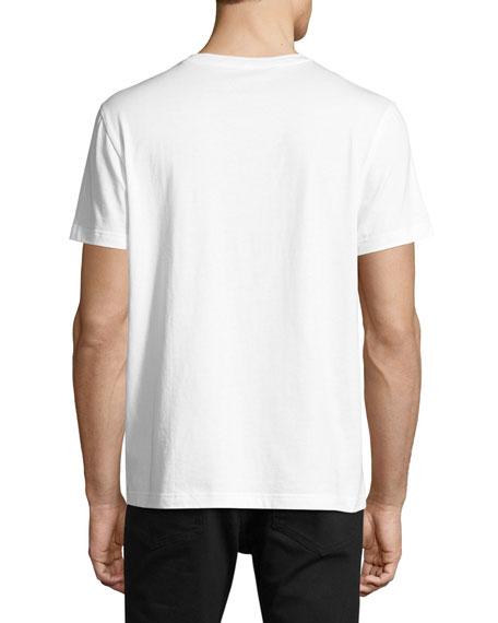 Skull-Print Crewneck Pocket T-Shirt, White/Black