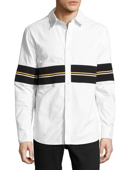 Daniel Won Cotton Oxford Shirt with Striped Ribbed