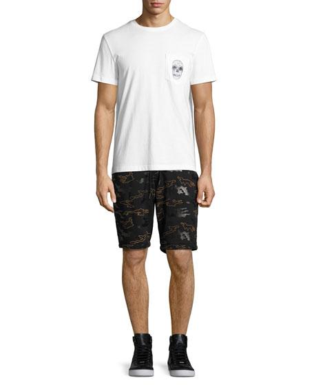 Rubber Camo Micro-Terry Sweat Shorts, Black