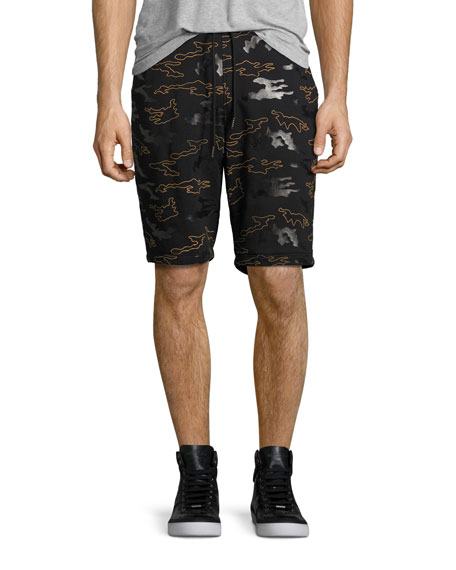 Daniel Won Rubber Camo Micro-Terry Sweat Shorts, Black