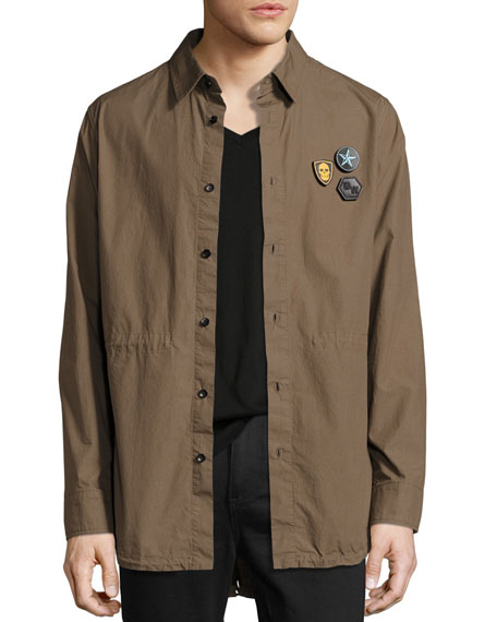 Cotton Fishtail-Hem Shirt Jacket with Patches, Olive