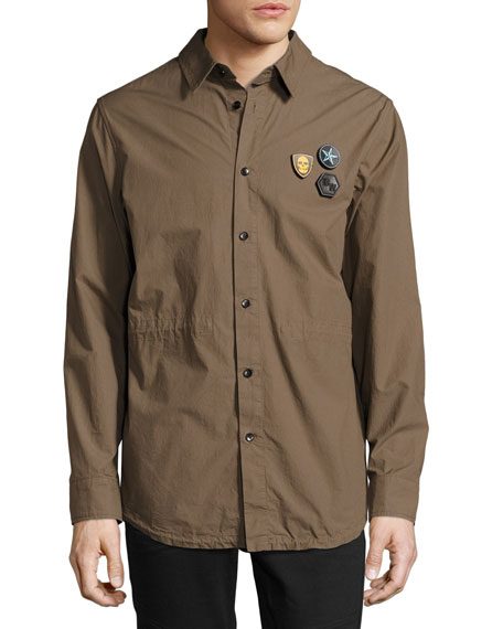 Daniel Won Cotton Fishtail-Hem Shirt Jacket with Patches,