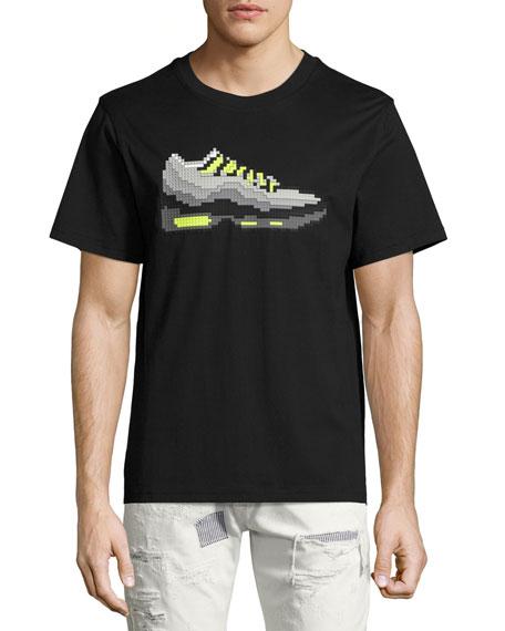3D 8-Bit Sneaker T-Shirt, Black