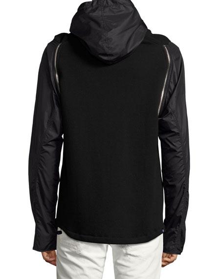 Zip-Sleeve Hoodie, Black