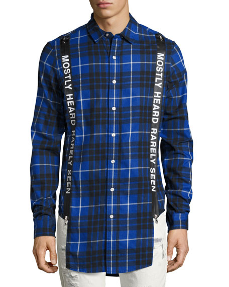 Logo Suspender Plaid Flannel Shirt, Blue