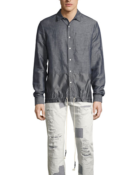 Chambray Oxford Shirt with Drawstring Tech Panel, Blue