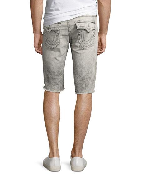 Rocco Distressed Denim Cutoff Shorts, Light Rail
