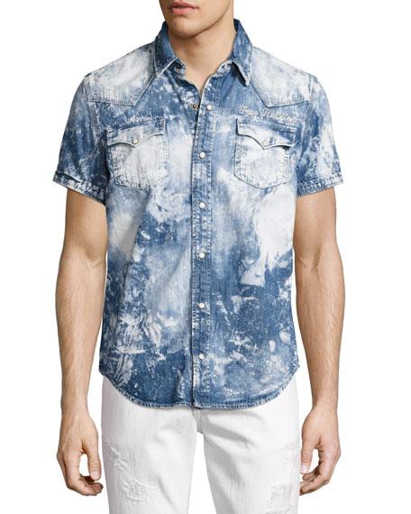 True Religion Ryan Bleached Short-Sleeve Denim Western Shirt,