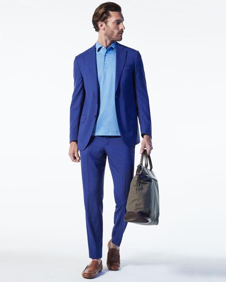 Men's Medium Leather & Nylon Travel Tote Bag