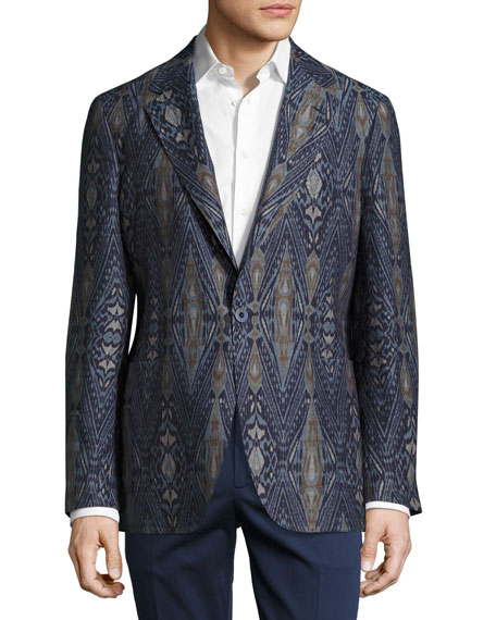 Etro Ikat Single-Button Blazer, Navy