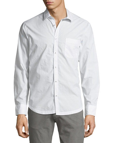 Point-Collar Cross-Dot Shirt