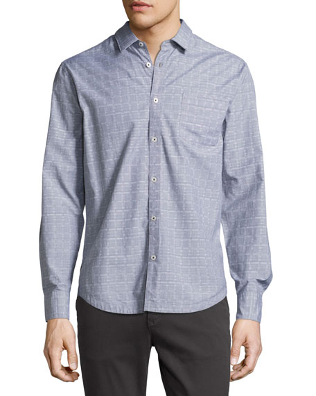 The Good Man Brand End-on-End Grid Oxford Shirt,