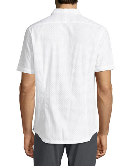 Arrow-Dot Short-Sleeve Cotton Shirt