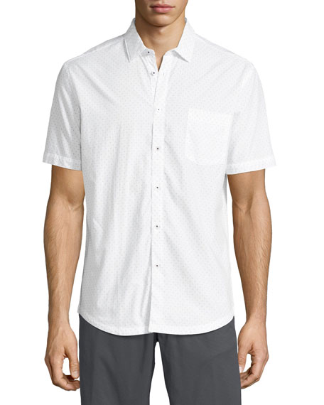 The Good Man Brand Arrow-Dot Short-Sleeve Cotton Shirt