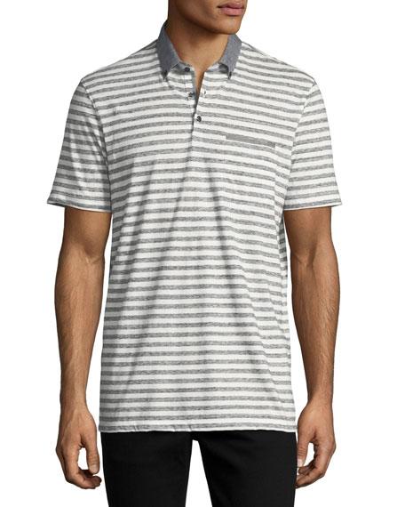 The Good Man Brand Striped Cotton Jersey Polo-Shirt