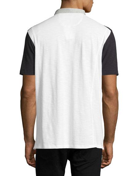 Colorblock Slub Jersey Polo Shirt, White/Black