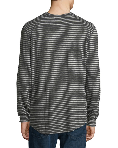 Striped Slub Jersey Henley T-Shirt