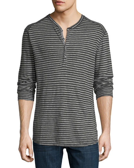 The Good Man Brand Striped Slub Jersey Henley