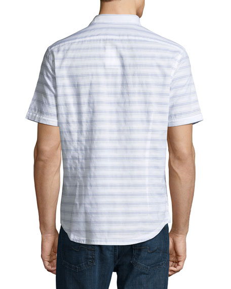 Striped Short-Sleeve Cotton Shirt