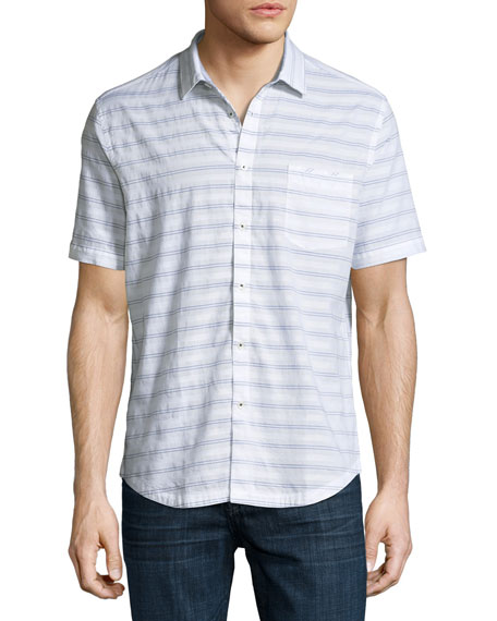 The Good Man Brand Striped Short-Sleeve Cotton Shirt